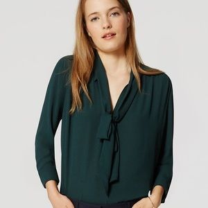 LOFT DEEP Forest Green Bow Tie Neck Blouse